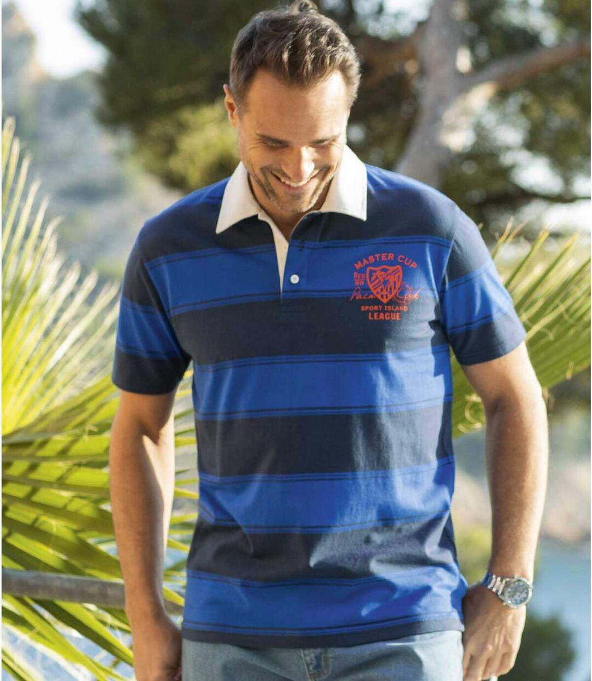 Men's Navy Blue Striped Polo Shirt Atlas For Men