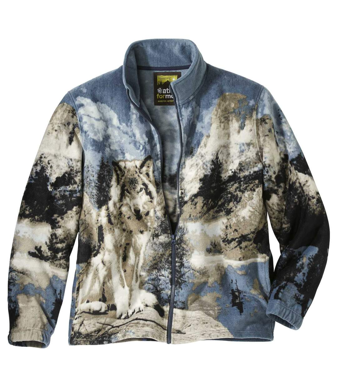 Men's Wolf-Print Full Zip Fleece Jacket - Blue Grey