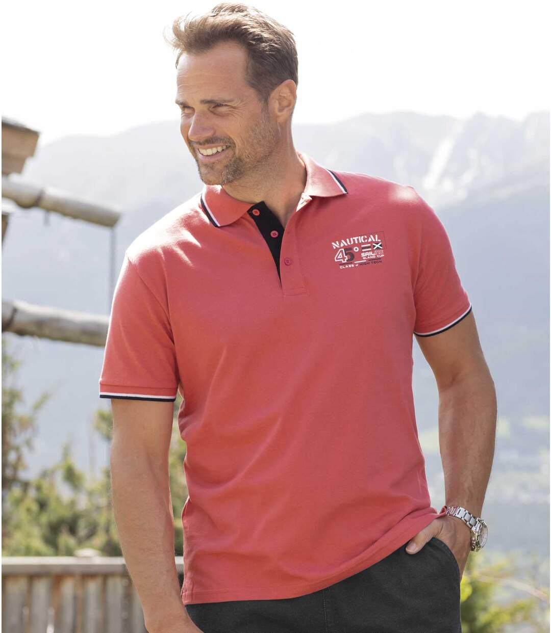Pack of 2 Men's Nautical Polo Shirts - Coral Black Atlas For Men
