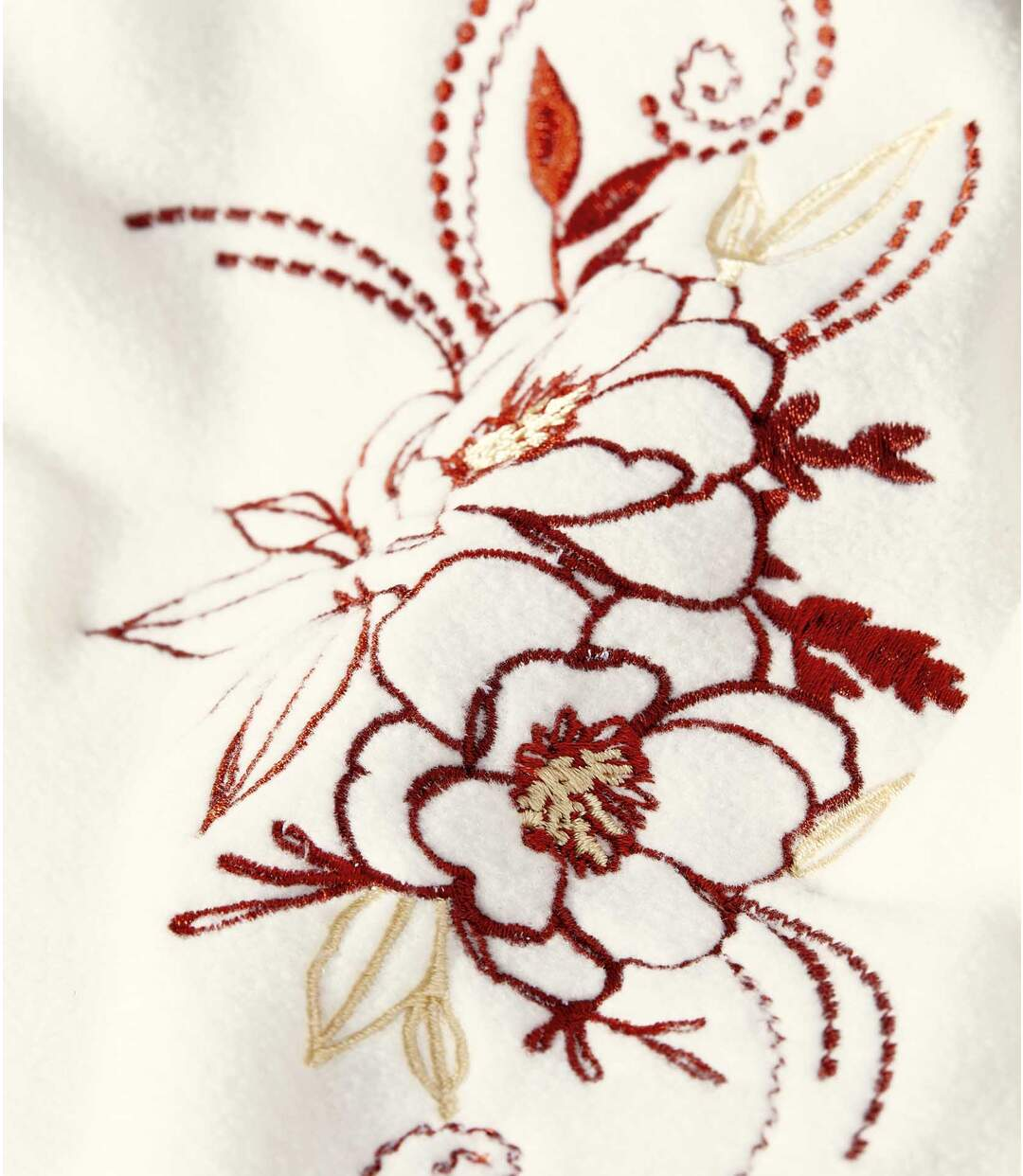 Mikina z mikroplyše zdobená výšivkou