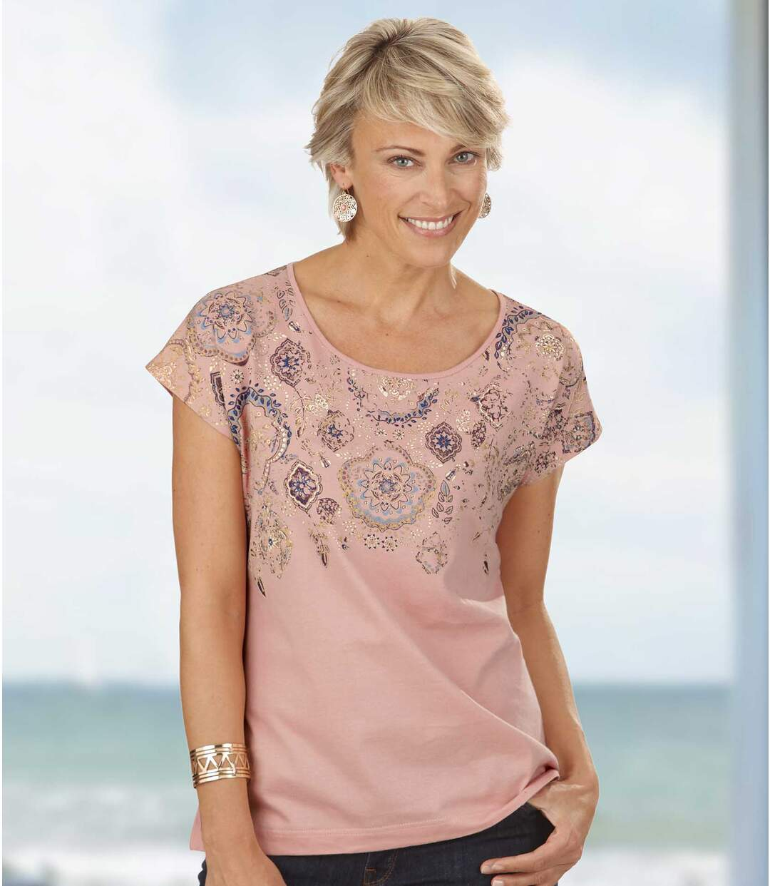 Women's Pink Patterned T-Shirt