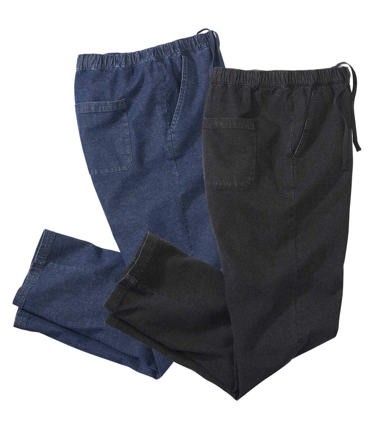 Pack of 2 Men's Casual Jeans - Black Blue Atlas For Men