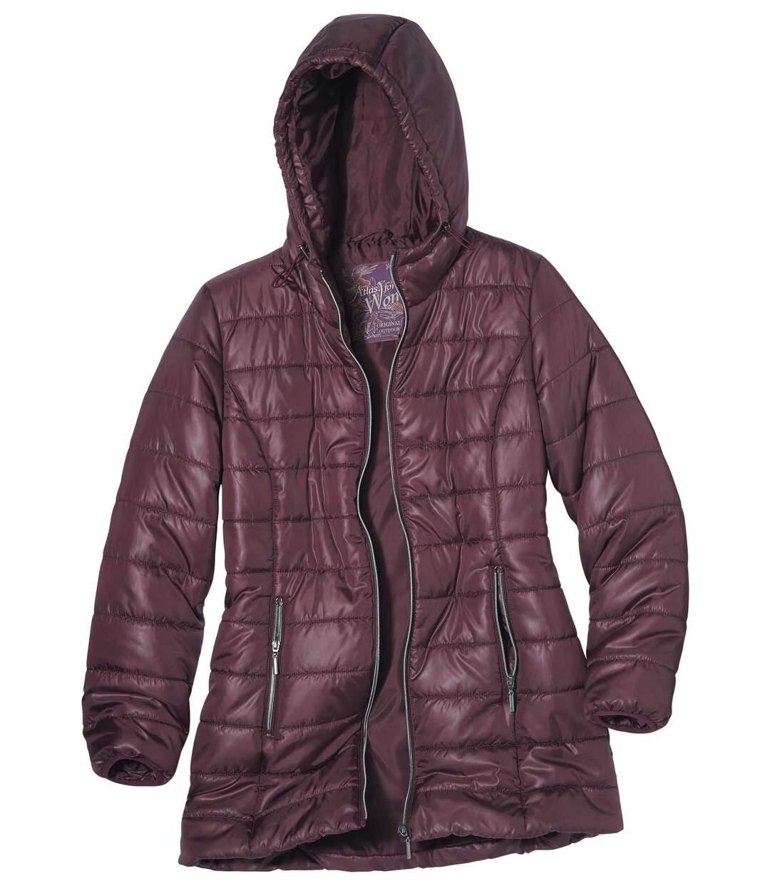 Długa, modna kurtka puchowa z kapturem