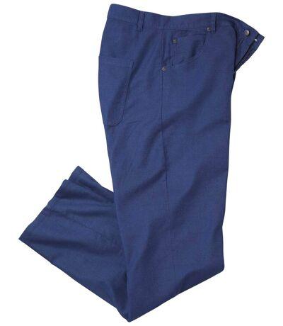 Kalhoty z kombinovaného materiálu len/bavlna