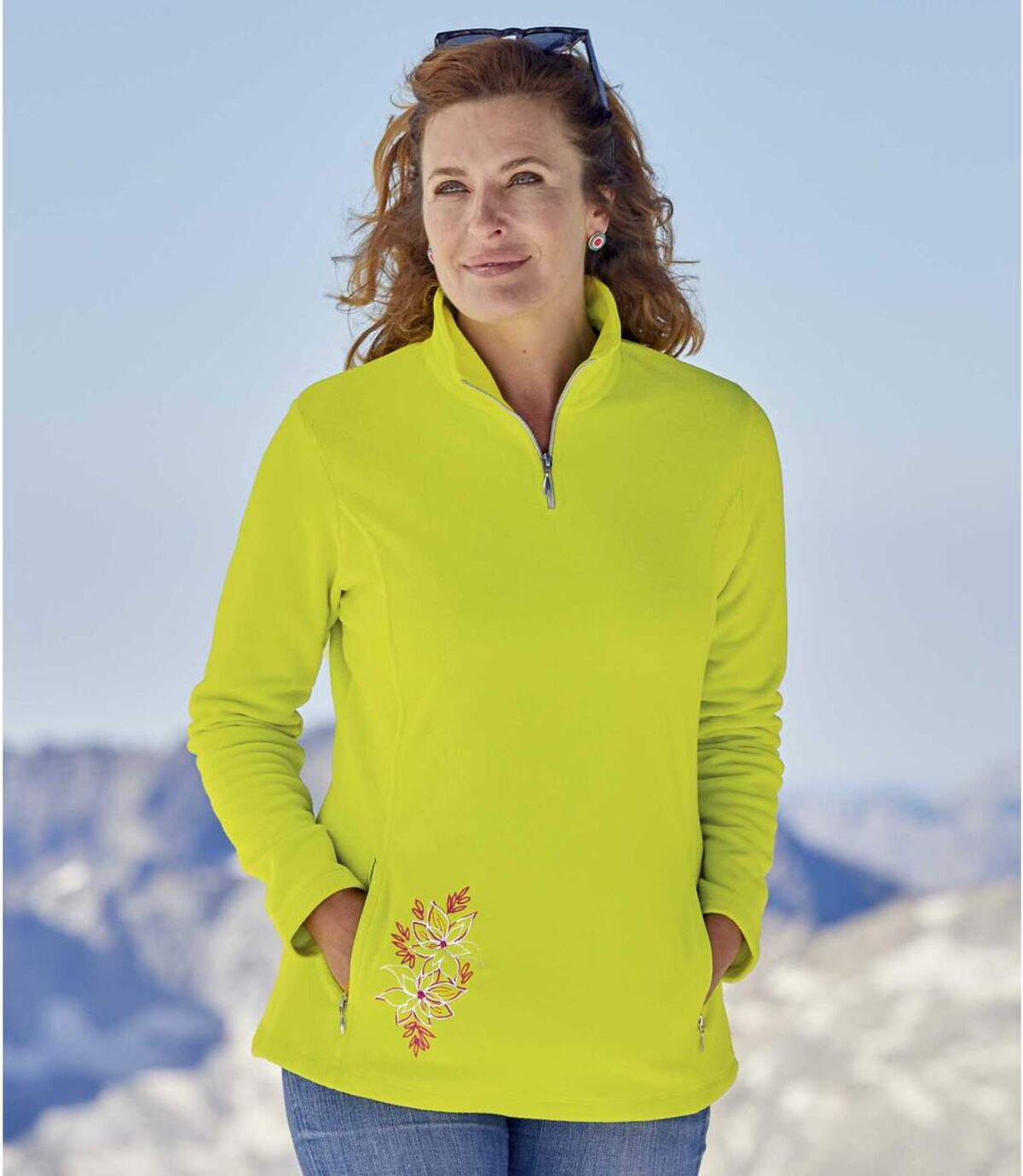 Microfleece-Pullover mit RV-Kragen Atlas For Men