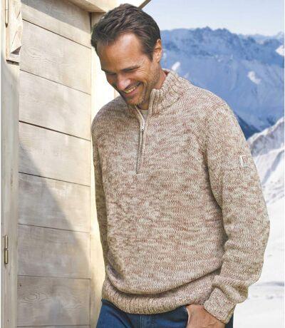 Men's Beige Knitted Sweater
