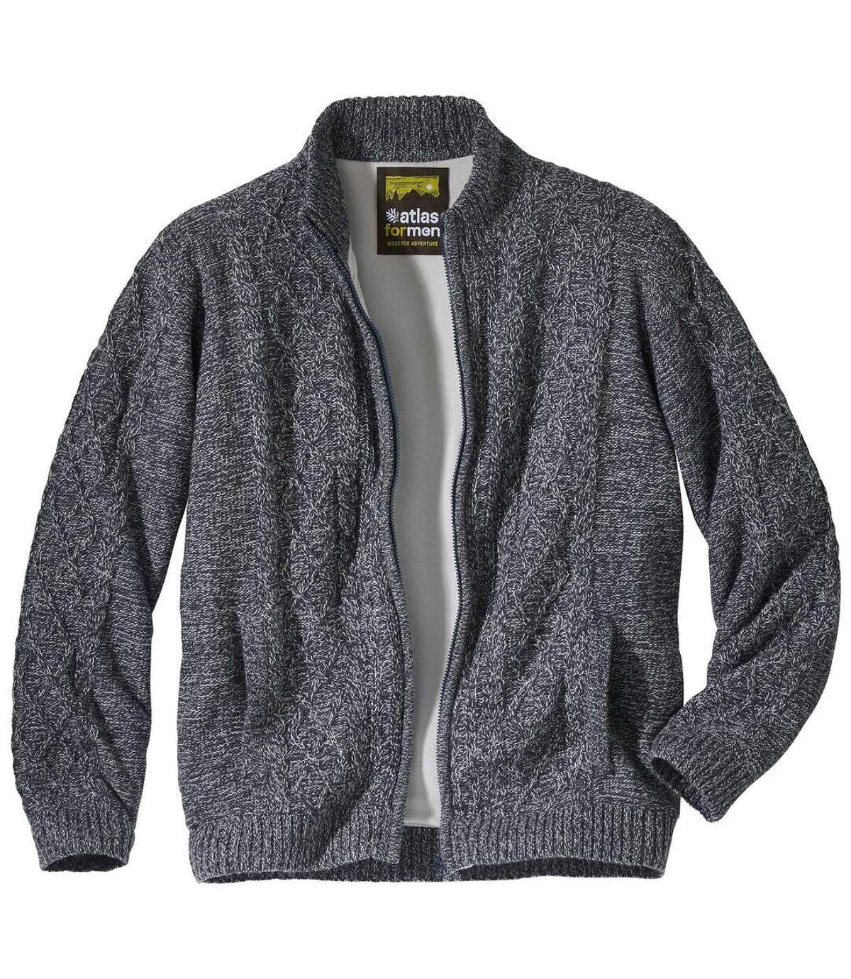 Zateplený sveter na zips s melírovaným efektom Atlas For Men