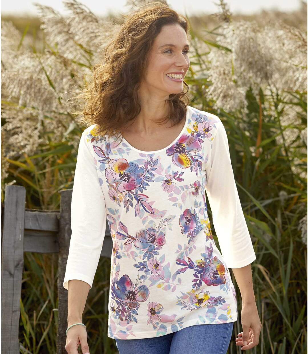Women's Floral Watercolour T-shirt with Three-Quarter Sleeves
