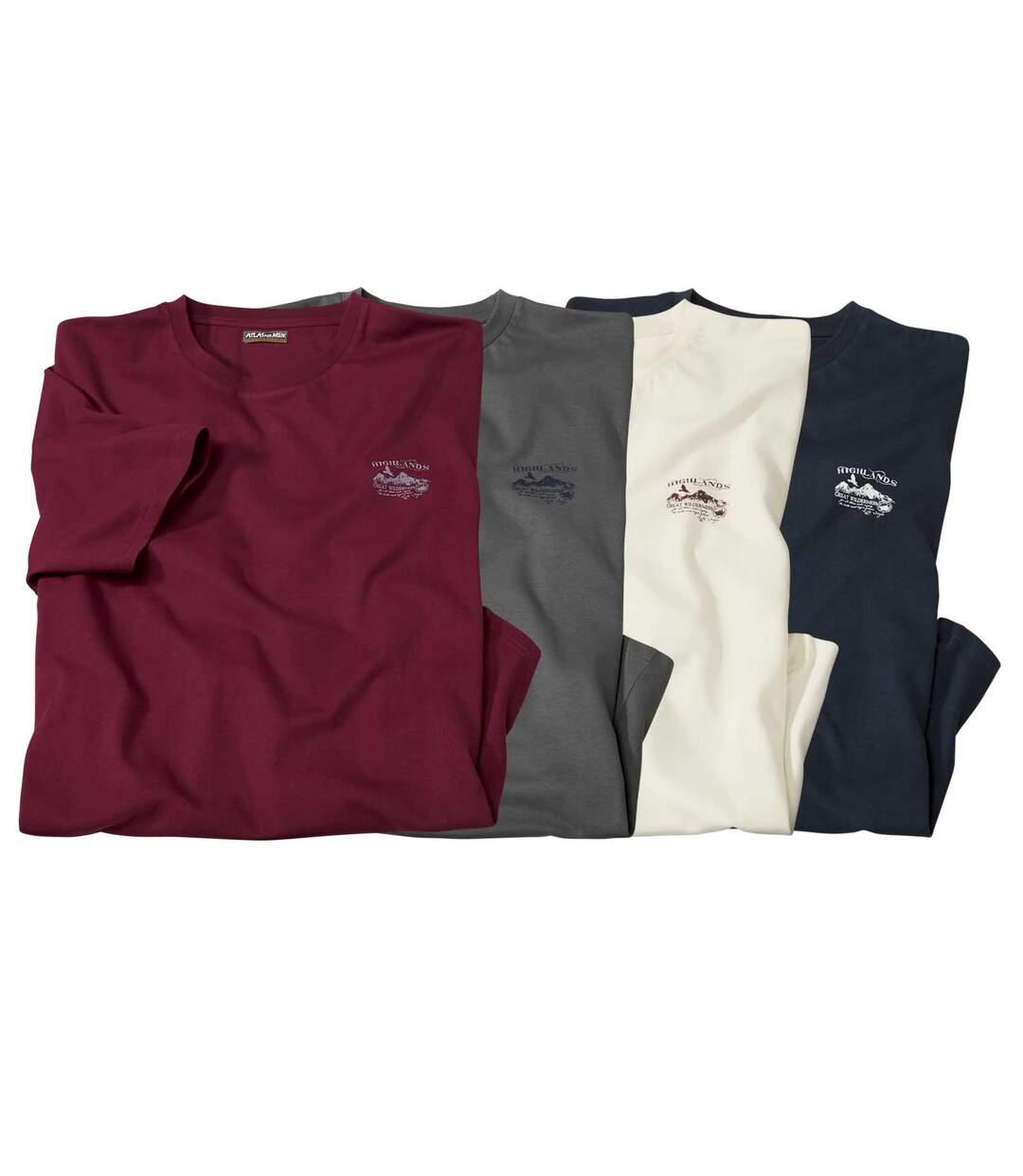 Set van 4 basic T-shirts met ronde hals