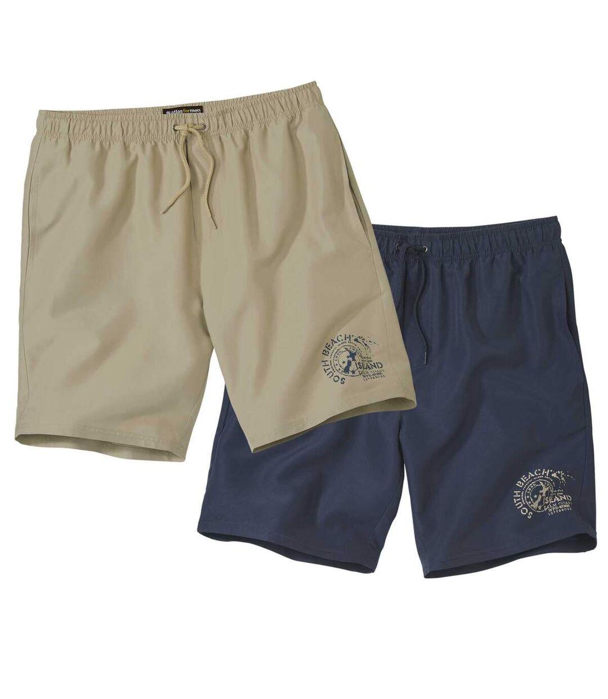 Pack of 2 Men's Tropical Surf Shorts - Navy Beige Atlas For Men