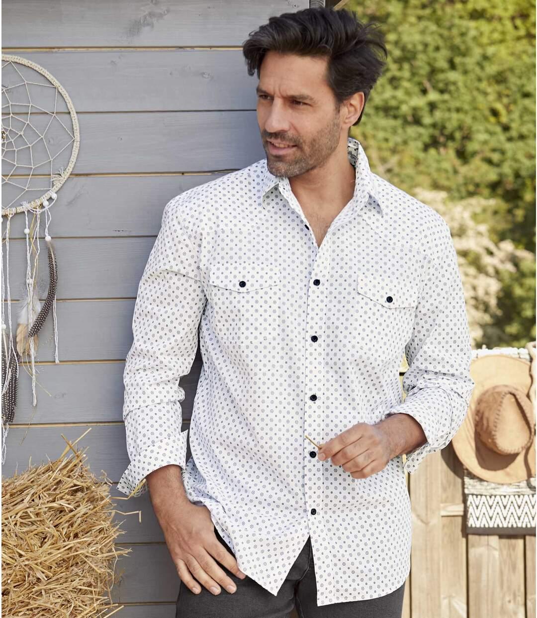 Weißes Hemd mit Motivdruck Atlas For Men