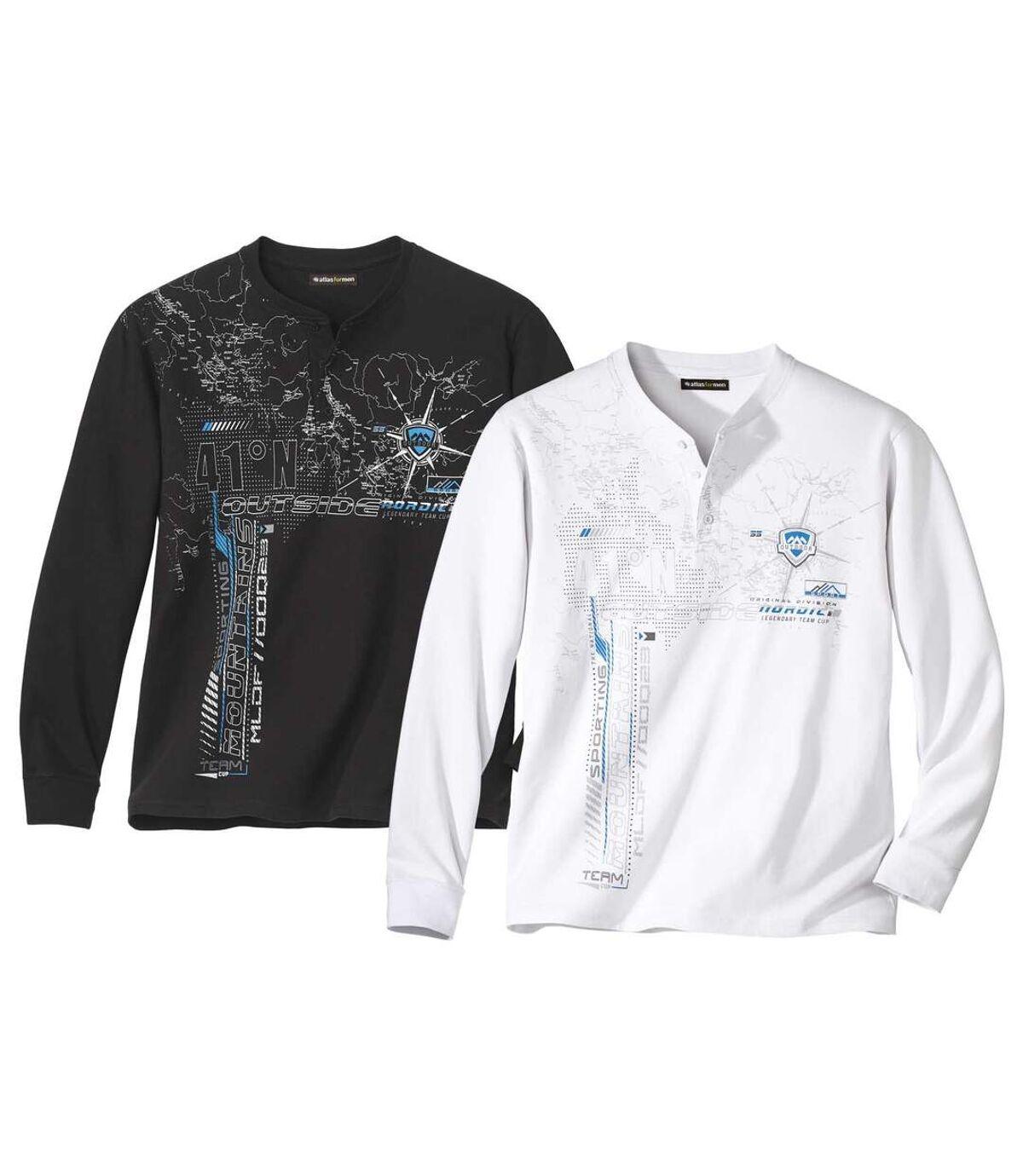 Zestaw 2 t-shirtów  z dekoltem z guzikami Sporting Atlas For Men