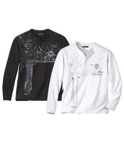 Pack of 2 Men's Print Button-Neck Tops - Black White