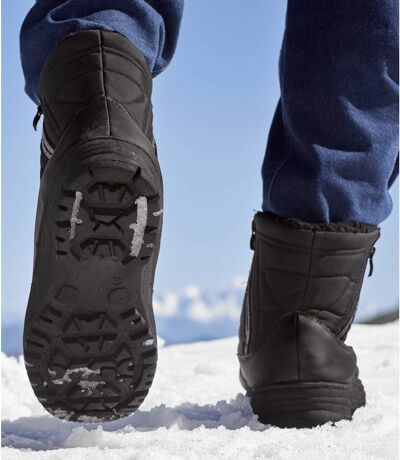 Men's Black Sherpa-Lined Snow Boots - Water-Repellent