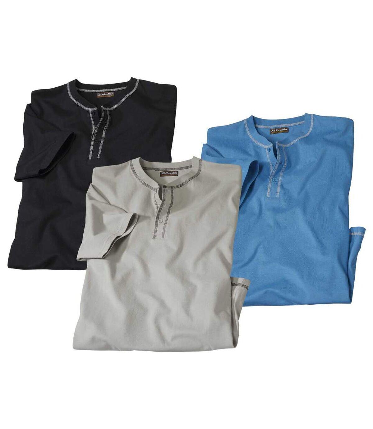 Zestaw 3 wygodnych t-shirtów z krótkimi rękawami i zapinanym dekoltem Atlas For Men