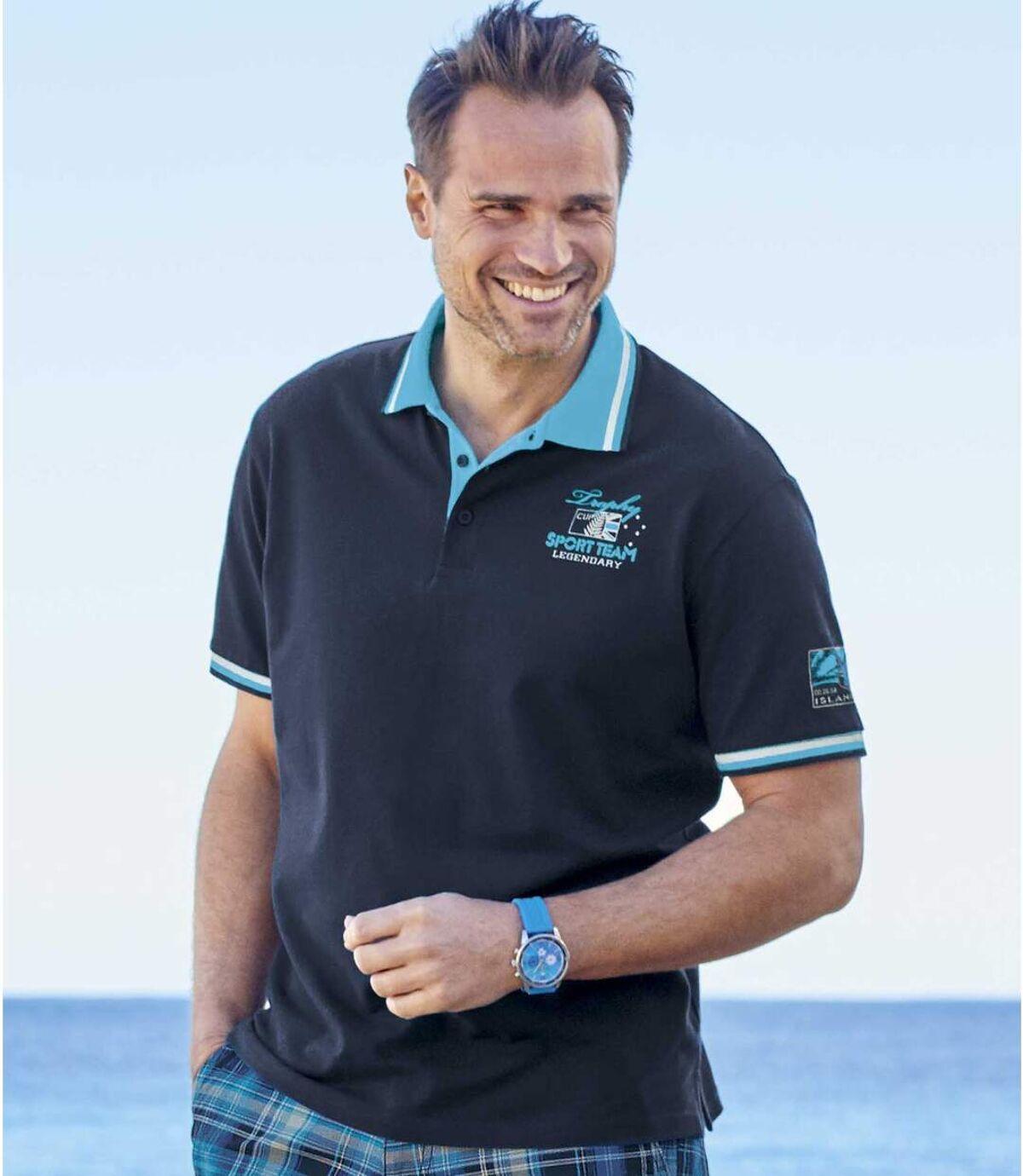 Pack of 2 Men's Piqué Polo Shirts - Navy Turquoise Atlas For Men