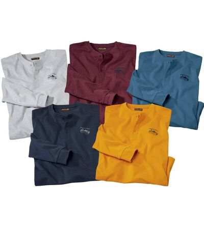 Pack of 5 Men's Long Sleeve Essential Tops with a Button-Up Neck