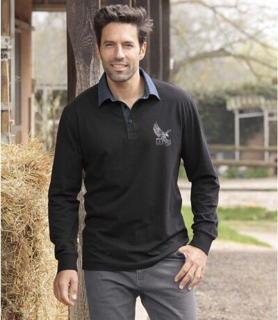 Men's Denim Collar Polo Shirt