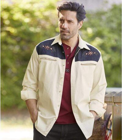Men's Ecru Embroidered Overshirt