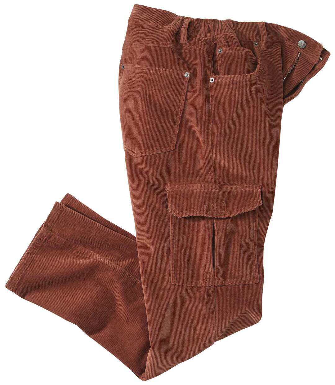 Men's Terracotta Corduroy Cargo Trousers