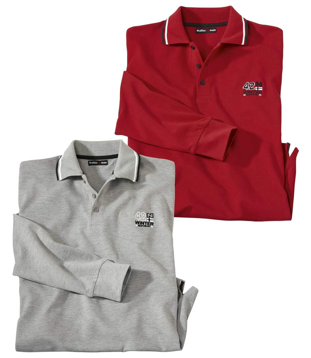 Pack of 2 Men's Grey & Red Polo Shirts - Long-Sleeved