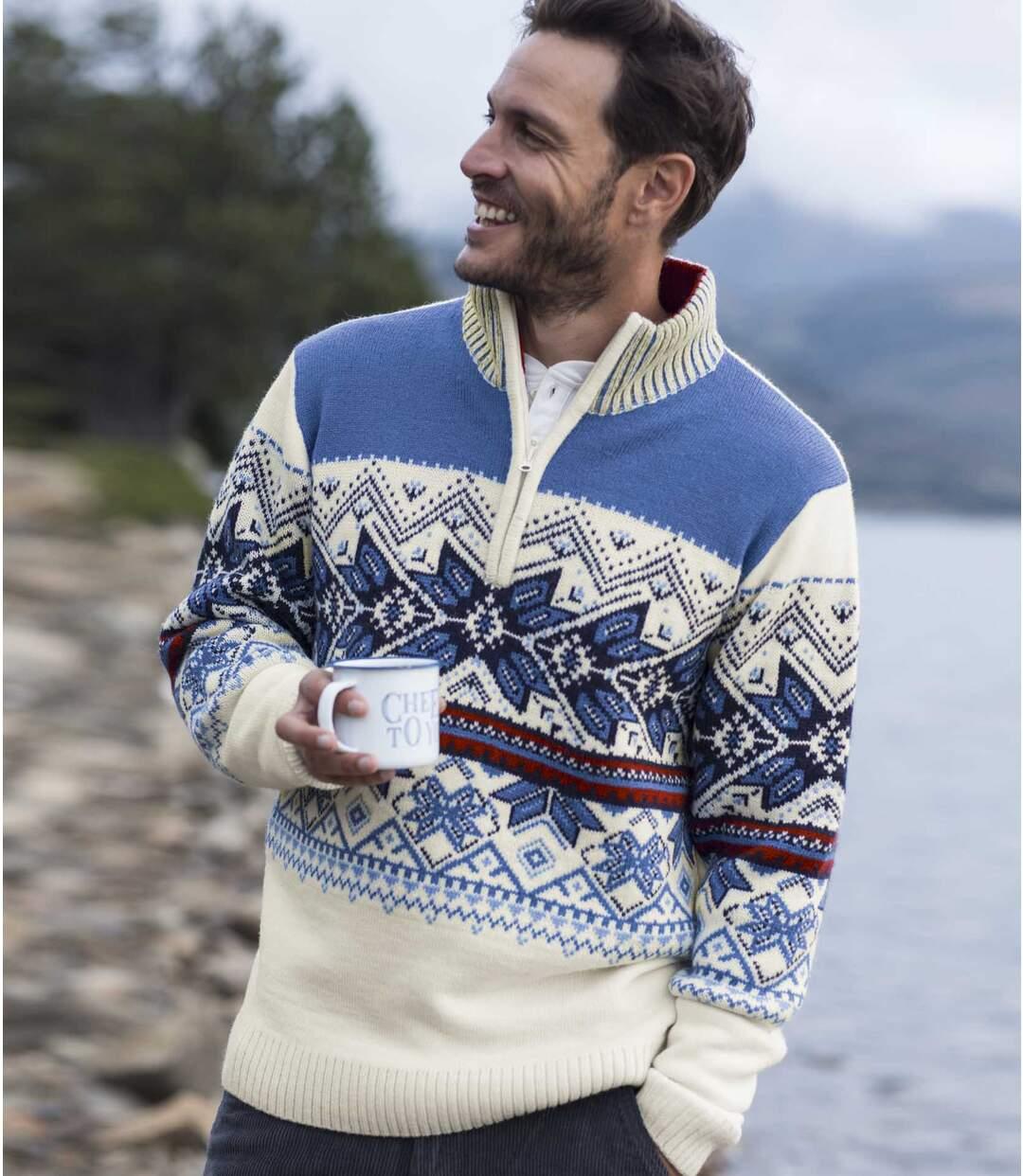 Žakárový pulovr Cordillera se zapínáním u krku