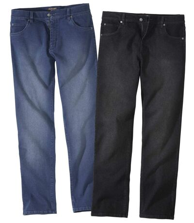 Pack of 2 Pairs of Men's  Regular Stretch Jeans - Faded Black Blue