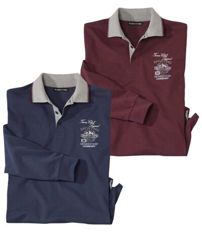 Pack of 2 Men's Polo Shirts - Burgundy Navy