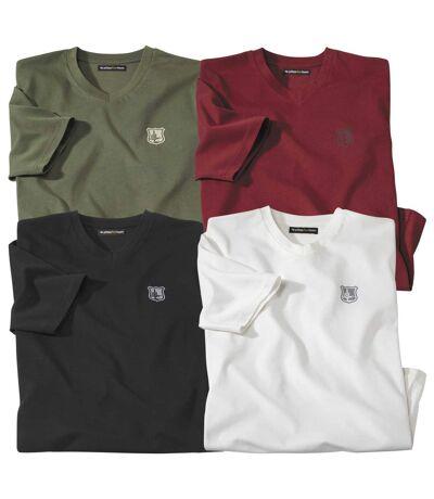 Men's Pack of 4 V-Neck Cotton T-Shirts