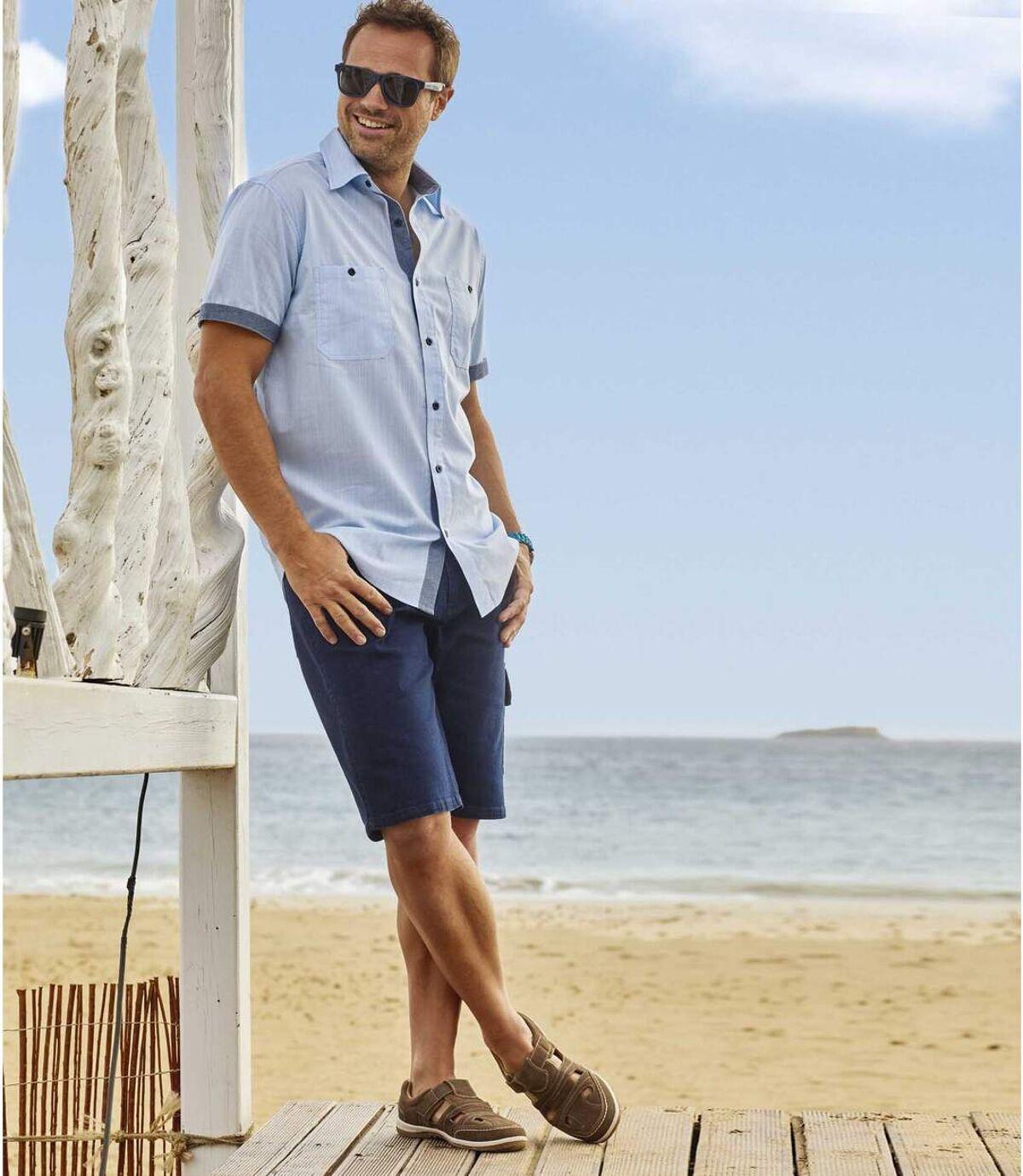 Jeansowe bermudy-bojówki ze stretchem Atlas For Men