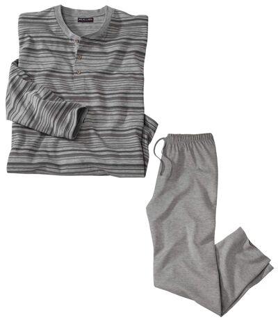 Men's Striped Winter Pajamas - Gray