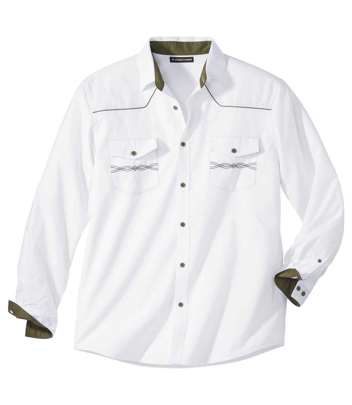 Men's White Western-Style Shirt Atlas For Men