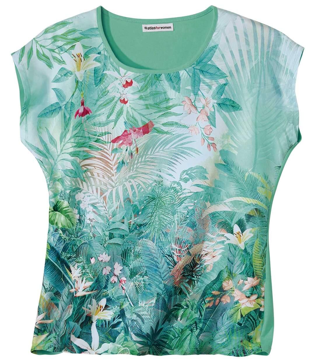 Dwumateriałowa bluzka z tropikalnym nadrukiem Atlas For Men