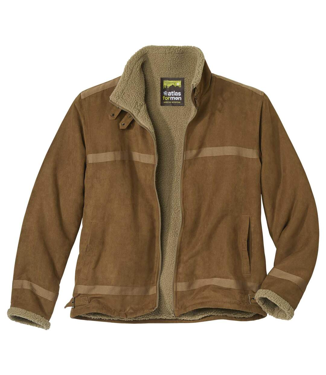 Men's Camel Full Zip Faux-Suede Jacket - Sherpa Lining - Water-Repellent