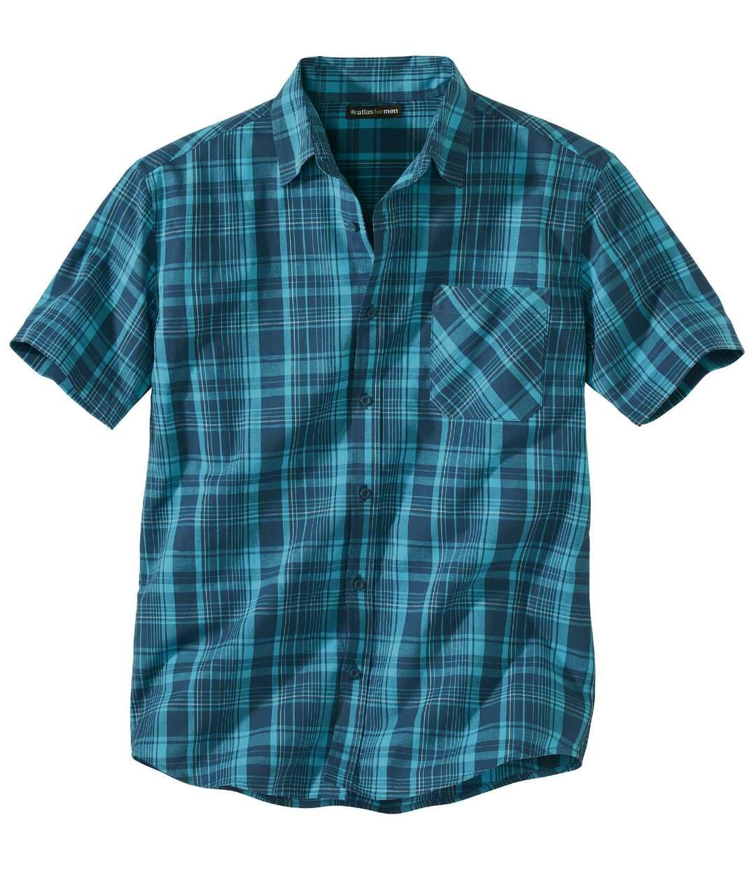 Men's Stretch Green Checked Shirt - Short-Sleeved