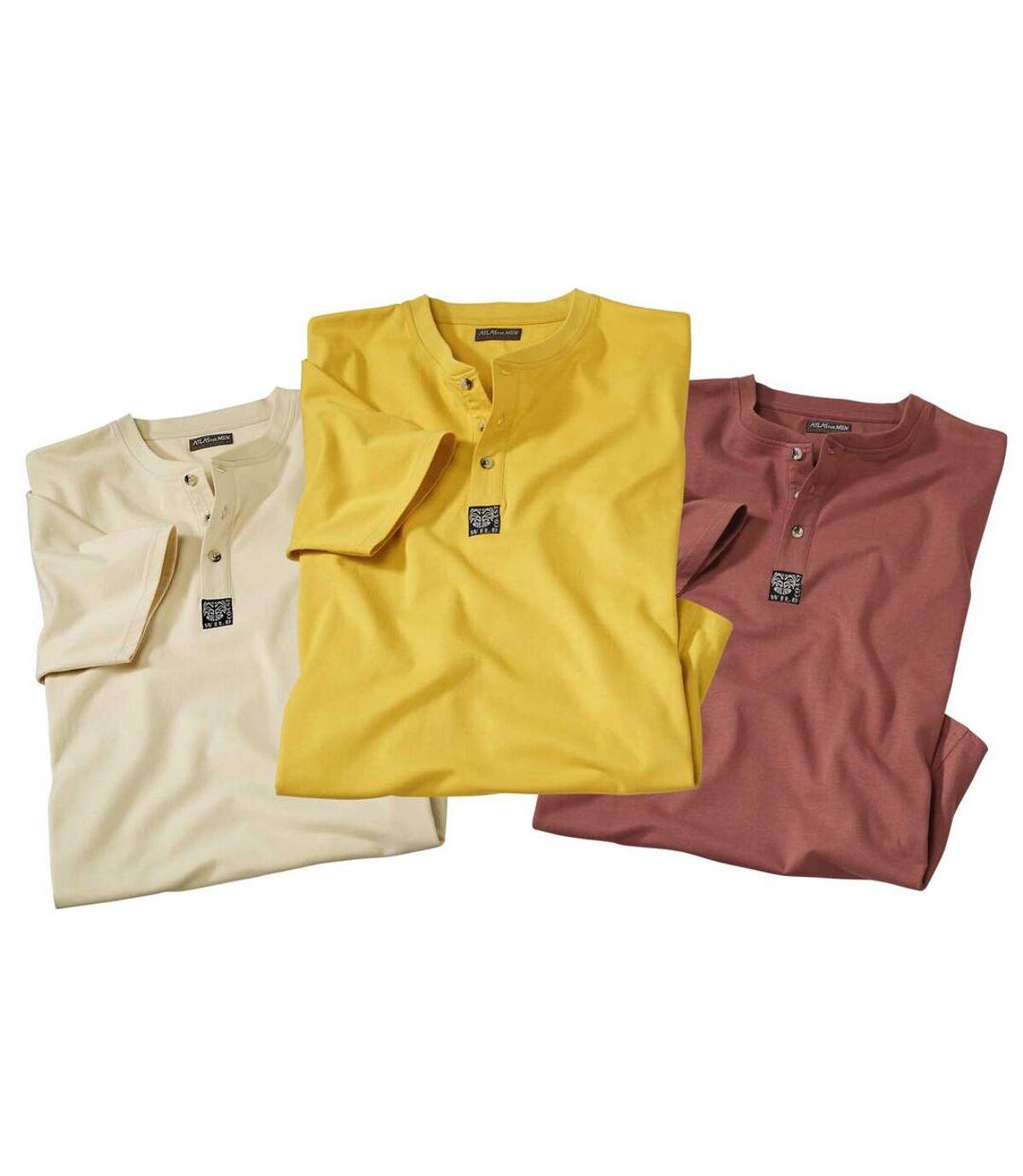 3er-Pack T-Shirts aus Baumwolle mit Henleykragen Atlas For Men