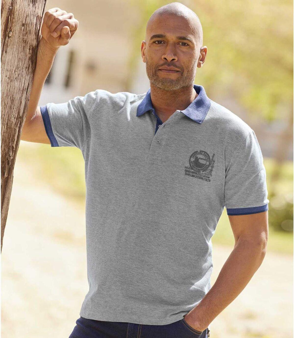 Pack of 2 Men's Short Sleeve Polo Shirts - Blue Grey Atlas For Men