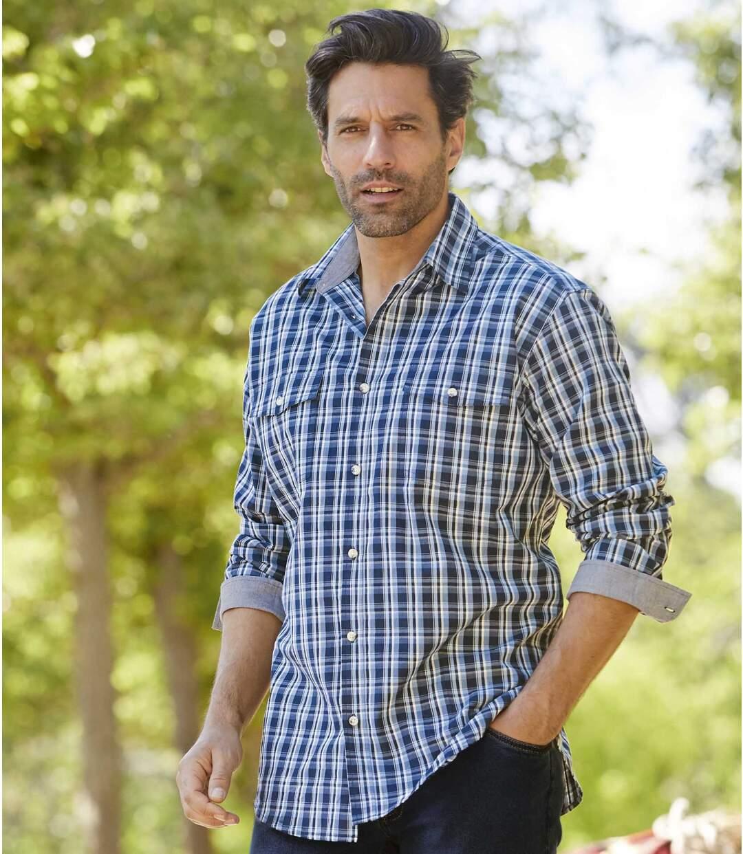 Men's Blue Checked Shirt