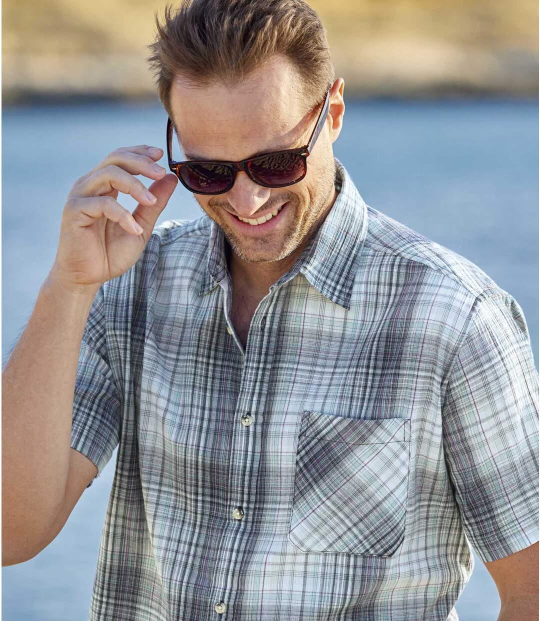 Men's Blue Crepe Shirt