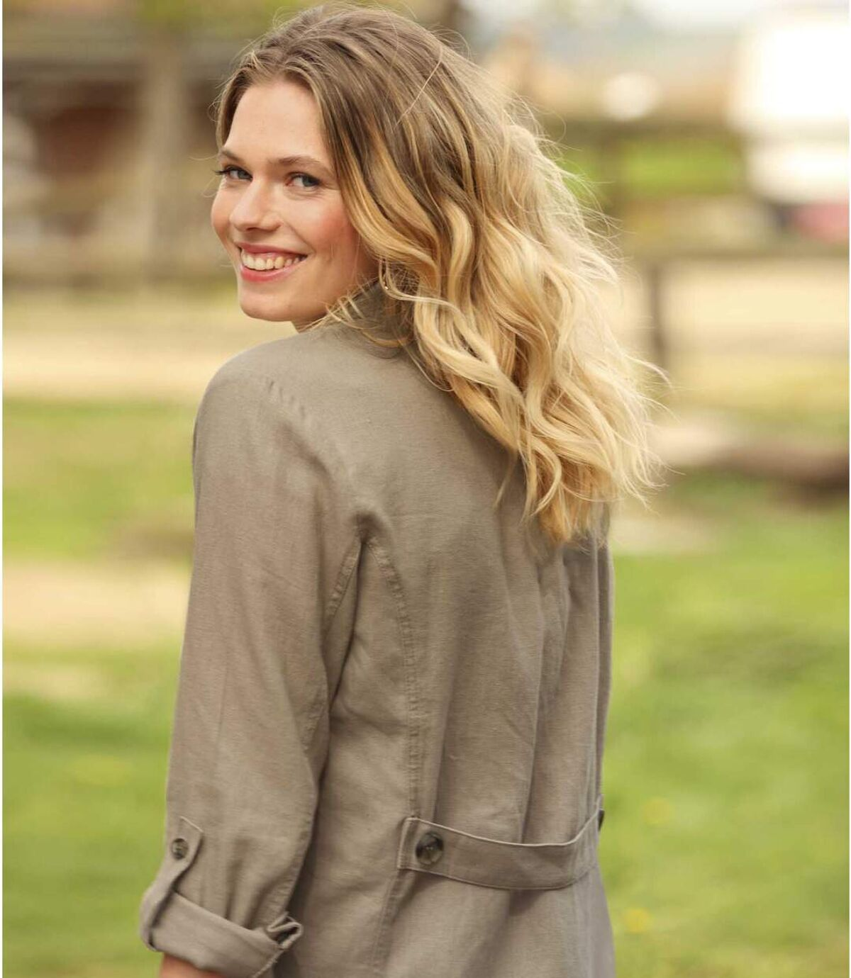 Women's Beige Summer Jacket in Linen and Viscose Atlas For Men
