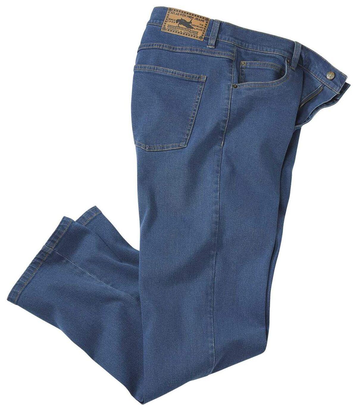 Modré strečové džínsy rovného střihu Regular Atlas For Men