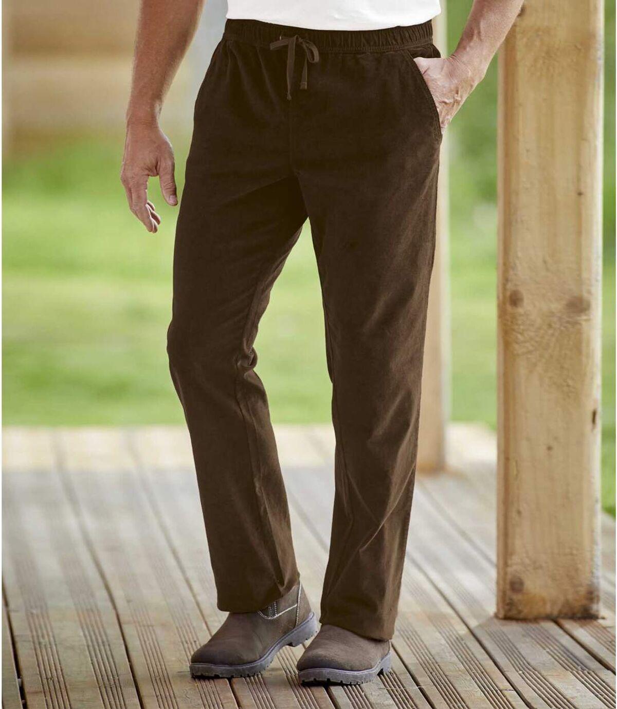 Manšestrové kalhoty s elastickým pasem Atlas For Men