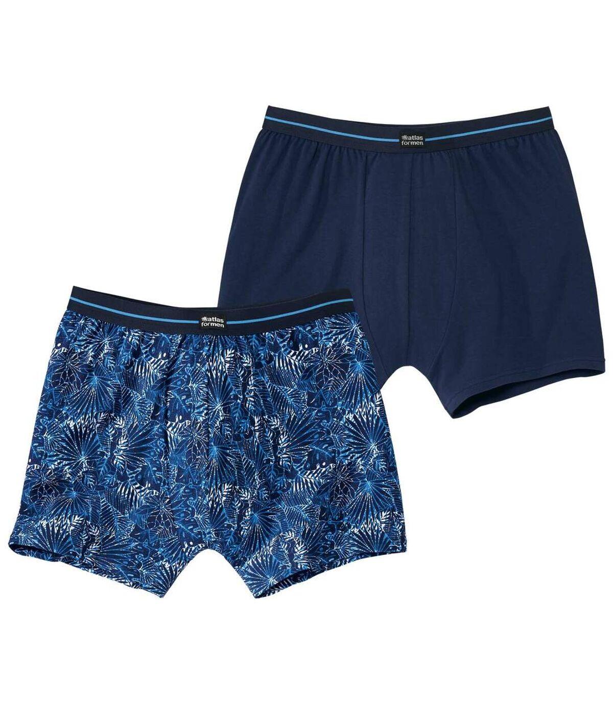 2 darabos, egyszínű és trópusi mintás boxer alsónadrág szett Atlas For Men
