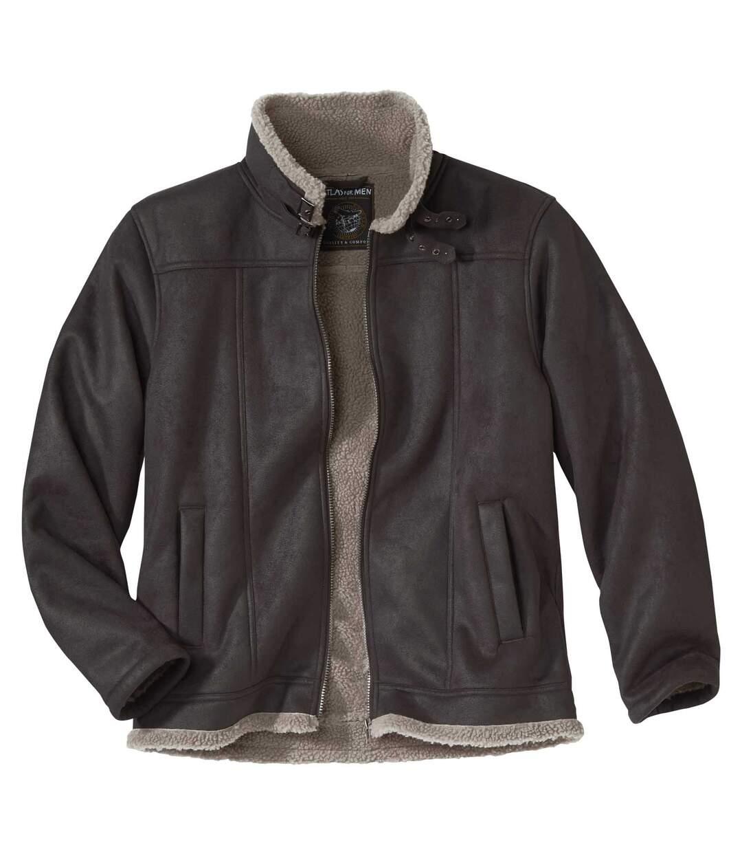 Kurtka z brązowego sztucznego zamszu z kożuszkiem sherpa