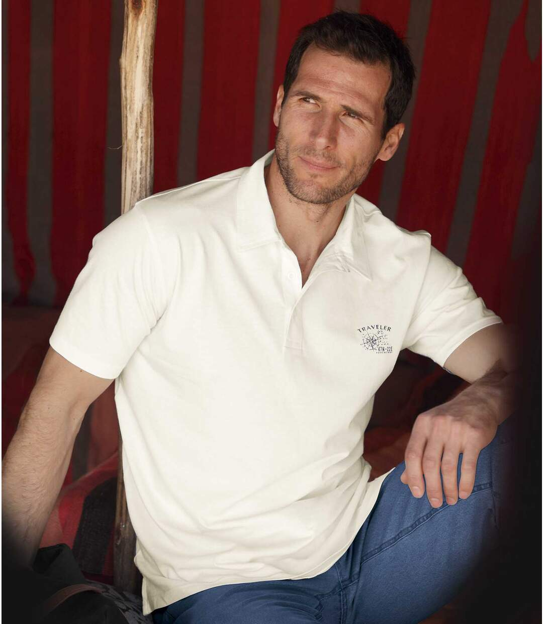 Pack of 3 Men's Voyage Polo Shirts - Blue White Coral