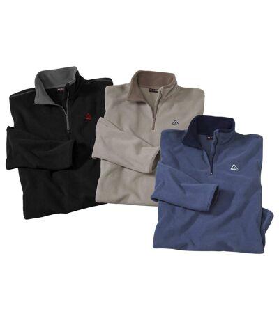 3er-Pack Poloshirts aus Microfleece