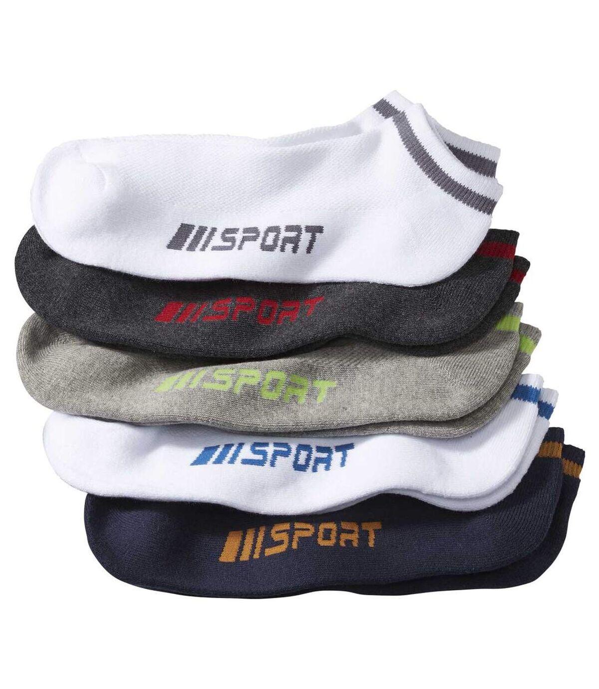 Pack of 5 Pairs of Men's Low Ankle Socks - White Navy Grey Atlas For Men