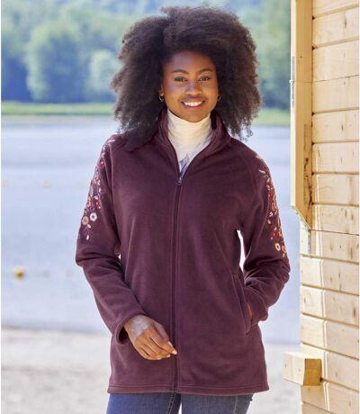 Women's Embroidered Burgundy Fleece Jacket - Full Zip