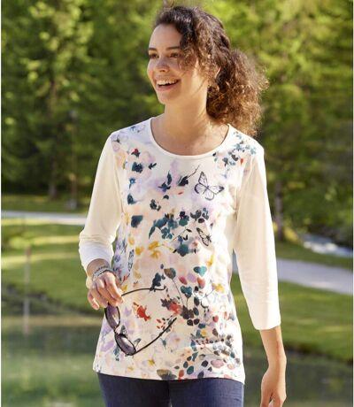 Bluzka z nadrukiem w kwiaty i motyle