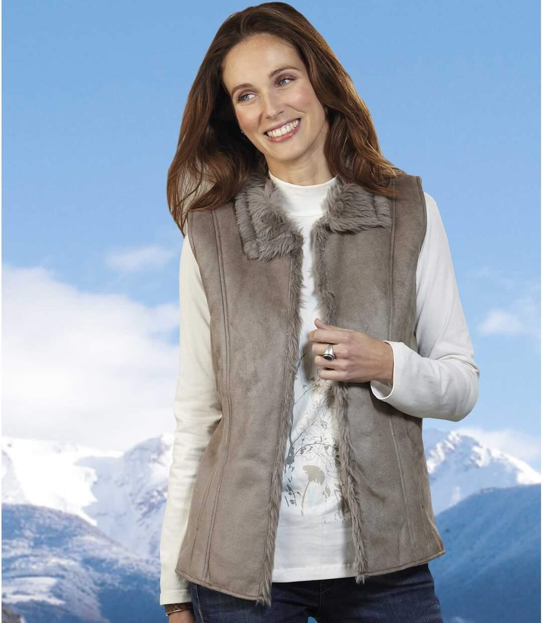 Women's Faux Suede And Faux Fur Gilet